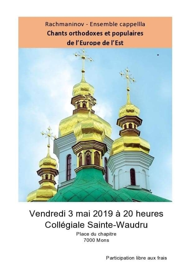 Affiche. Mons. Collégiale Sainte-Waudru. Chants orthodoxes et populaires Europe de l|Est. 2019-05-03